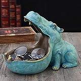 M.M.A Hippopotamus Statue Decoration Resin artware Sculpture Statue Decor Home Decoration Accessories (A)