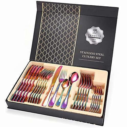 Vajilla Oro Cubiertos de acero inoxidable Cubiertos de tenedor completo Cuchillos de cuchillos con estuche para la cocina Conjuntos de vajillas de cubiertos 24 PCS (Color : Rainbow with box)