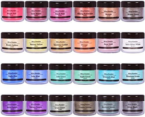 Epoxy Resin Dye - 24 Colors Mica Powder - Pigment Powder for Slime, Nail Polish, Epoxy Resin, Soap Colorant, Tumbler, Polymer Clay