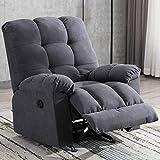 ANJ Rocker Recliner Chair Adjustable Overstuffed Fabric Manual Reclining Chair Soft Contemporary Sofa for Living...