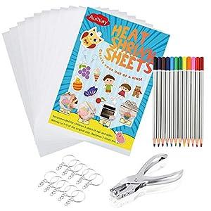 Auihiay - Juego de 33 Hojas de plástico termorretráctiles Que Incluyen 10 Piezas de Papel artístico Encogido, Perforadora, llaveros, lápices para Manualidades Creativas para niños