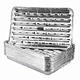 Roponan 30-Pack Disposable Grill Toppers, Aluminum Foil Grill Pans with Holes, Grill Accessories for Barbecue, Outdoor Cooking and Camping