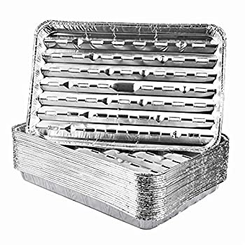 Roponan 30-Pack Disposable Grill Toppers Aluminum Foil Grill Pans with Holes Grill Accessories for Barbecue Outdoor Cooking and Camping
