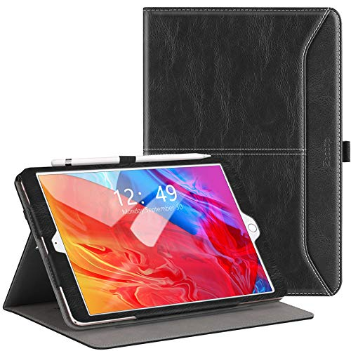 ZtotopCase Case for iPad 10.2 Case, Fit iPad 8th Generation (2020)/7th Generation (2019), Premium Leather Business Folio Cover With Pocket and Auto Wake/Sleep Function, Multi-angle, Black