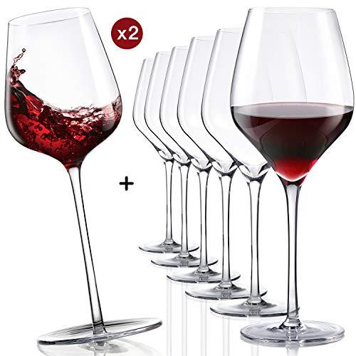 Finest Crystal 6-er Set mundgeblasene Weingläser mit 2 Funny Rocking Gläser, bleifreies Kristallglas handgefertigt, Bordeauxglas 620ml, Elegante Dekoration