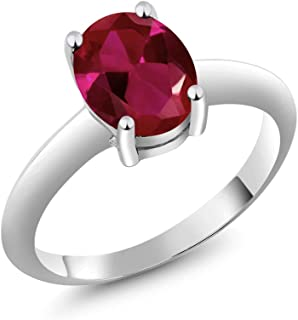 2.39 Ct Solitaire Red Created Ruby 925 Sterling Silver Engagement Ring