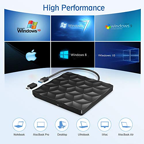 externes Laufwerk,Externes CD DVD Laufwerk,USB 3.0 & USB-C Tragbare DVD/CD Lesegerät und CD DVD-/+RW Brenner/niedriger Lärm für Laptop, Desktop, Mac OS, Win 10/8/7/XP/Vistal, and Linux, Plug&Play