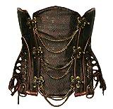 Bslingerie® Gothic Punk Steel Boned Faux Leather Underbust Waist Cincher Corset (L - UK 12-14, Classic Brown)