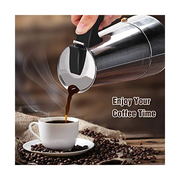 Godmorn Cafetera Italiana, Cafetera espressos en Acero inoxidable430, 4610 Tazas,Conveniente para la Cocina de inducción,Cafetera Moka Clásica,