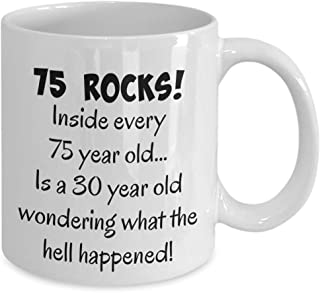 Happy 75 year old 1944 75th birthday gift mug for women or men, great Christmas, mothers day or fathers day present, white ceramic 11 oz coffee mug, tea cup