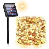 Maxsure Catena Luminosa Solare, 26m 240 LED, Stringa Luci LED Solari, Luci Natalizie, Filo di Rame, Bianco Caldo, Matrimonio, Feste, Giardino, IP65 Impermeabile, Classe di Efficienza Energetica: A++