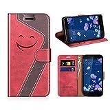 MOBESV Smiley Portefeuille HTC U11, Coque Cuir HTC U11 Magnétique Étui Housse Cover avec Porte...