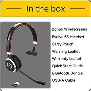 Jabra Evolve 65 Bluetooth Mono MS Headset Bundle   Microsoft Skype Lync Certified, Windows PC, MAC, Smartphone, Streaming Music, IP Softphones, NFC   Bonus Premium Microphone Cushions, 6593-823-309-C