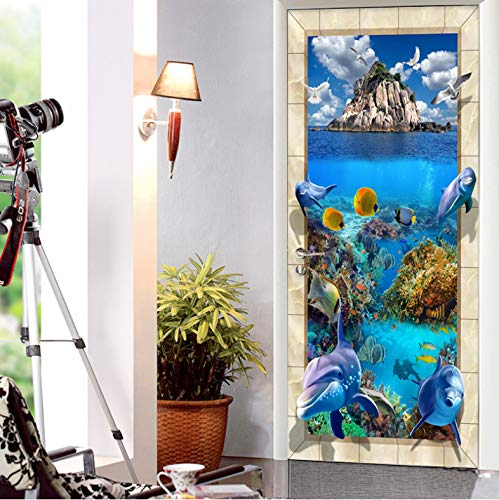 LLWYH Puerta Mural 3D Niños Mundo Submarino Puerta PVC Autoadhesivo Papel Pintado Arte Decoración del Hogar 77 x 200 cm