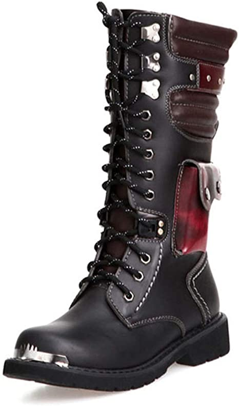 Mens Military boots Army Mid calf Boots Motocycle Biker Shoes Punk Gothic Combat