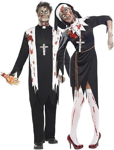 Fancy Me Herren & Damen Paar Kostüm zombie-nonne & Priester Halloween Horro Schwester Vater religi Verkleidung Outfit - Schwarz Schwarz Ladies UK 12-14 & Mens Large