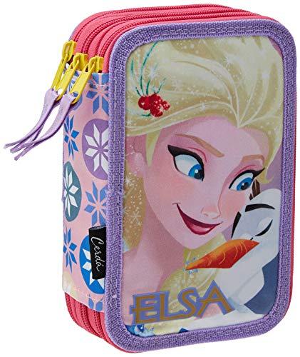 Cerdá Disney Frozen 2700000226, Astuccio 3 Scomparti, Bambina, 19 Centimetri, Bianco (lila), premium frozen, poliestere