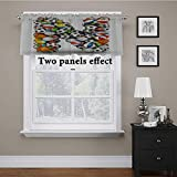 Adorise Window Curtain Valance Sports Equipment Football Volleyball Tennis Ball Capital N Symbol Alphabet Design Tailored Valance/Swags for Bedroom, Living Room, Kitchen Multicolor 56 x 14 Inch