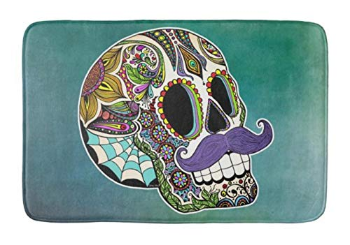 Yesstd Mustache Sugar Skull Absorbent Super Cozy Bathroom Rug Doormat Welcome Mat Indoor/Outdoor Bath Floor Rug Decor Art Print with Non Slip Backing 24' L x 16' W Inches.