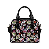 Sugar Skull Flower PU Leather Purse Handbags Shoulder Crossbody Bag for Women Girls