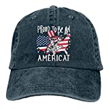 Gymini 4 de julio Patriótico Gato Americano Kitty orgulloso de ser un Americat sombrero de algodón lavable gorras de béisbol ajustables para hombre mujer azul marino