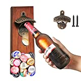 Wall Mounted Magnetic Bottle Opener, Beer Bottle Opener with Cap Catcher Beer Unique Gifts for Dad Him Men Boyfriend Husand Grandpa Uncle and Beer Lovers, Cool Gadgets Perfect for Kitchen, Bar, Yard