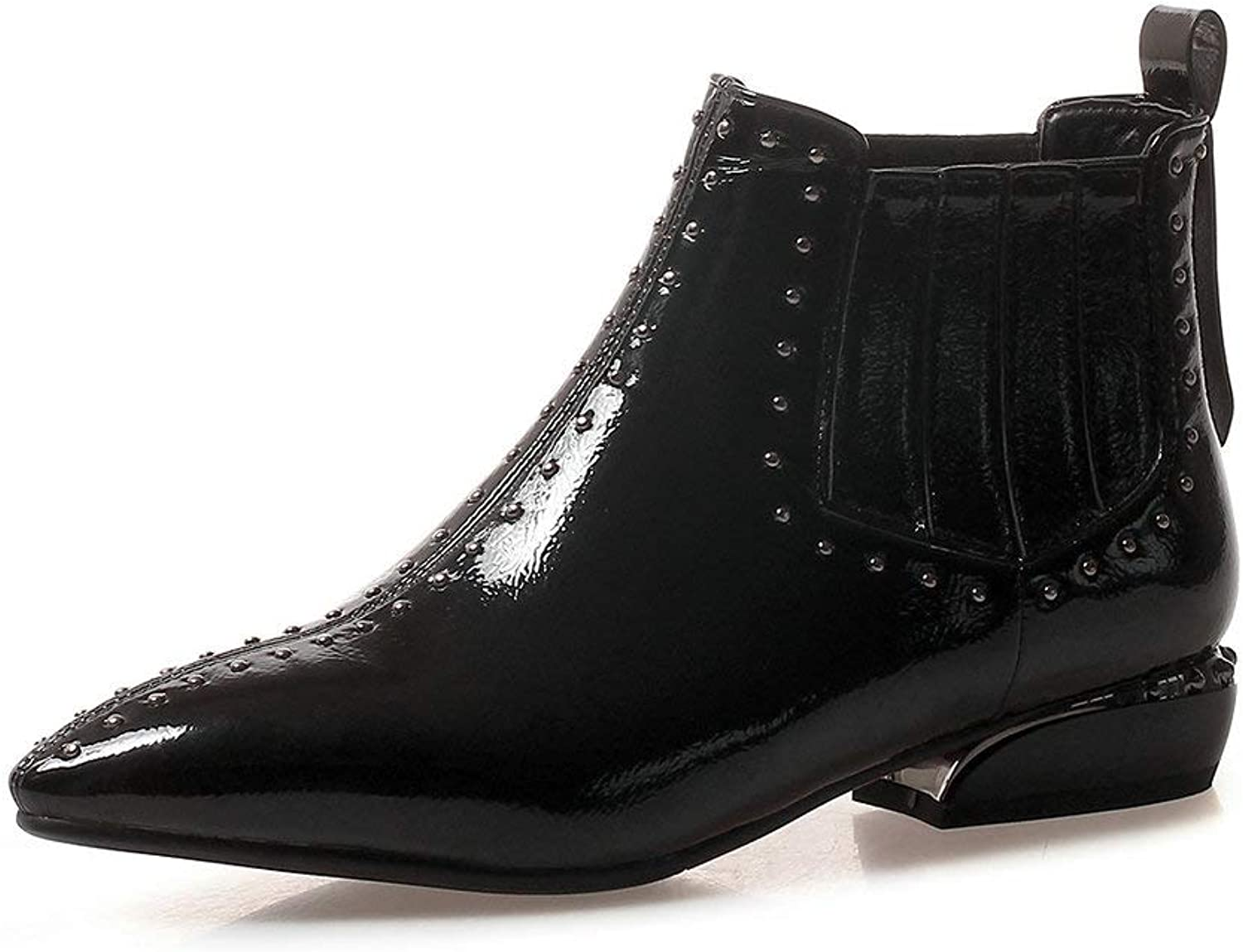 AnMengXinLing Fashion Studded Ankle Boots Women Chunky Low Heel Leather Pointed Toe Slip On Western Punk Cowgirl Chelsea Boot