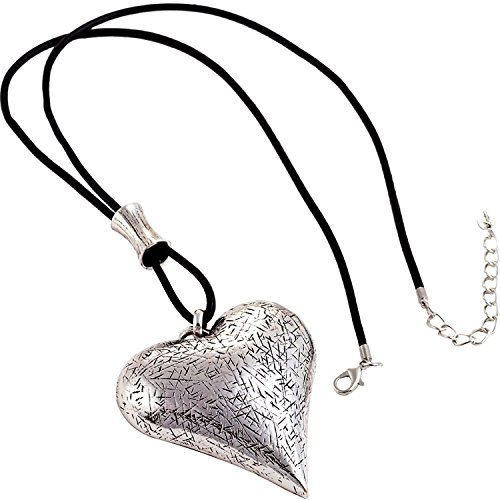 Lagenlook Statement-Kette mit großem Herzanhänger, strukturiert, silberfarben, mit schwarzer Lederkette