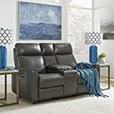 Homestyles by Flexsteel Nuova Leather Power Motion Reclining Console Love Seat