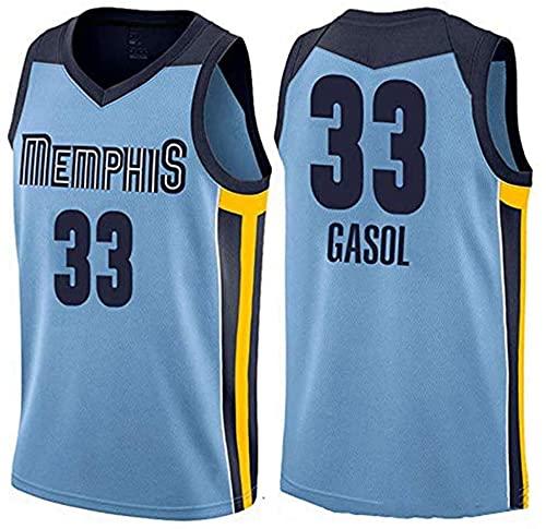 XUECHEN Ropa Jerseys de Baloncesto de los Hombres, Golden State Warriors # 33 Gasol NBA Sports Tops Casual Baloncesto Uniformes Chalecos sin Mangas y Camisetas, Azul, XXL (185~190cm)