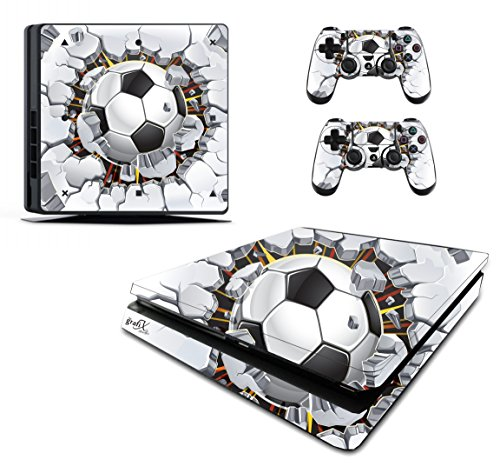 Voetbal Baksteen Sticker/Skin PS4 slank/Sony Playstation 4 Slim Console & Remote controller stickers, pss6