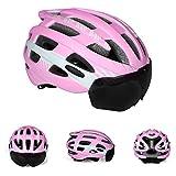 磁気スポーツヘルメット、軽量ゴーグルワンピースの取り外し可能な3D裏地付き自転車用ヘルメット、アウトドアマウンテンバイクに乗る,ピンク