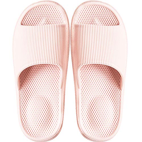 Damen BadeLatschen Schlappen Sandalen Dusch Badeschuhe Hausschuhe Slides Flip Flops Sommer mit Massage Punkt Slippers Indoor Rutschfest,Pink,34/35 EU