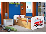 LIT Enfant Pompier 70 CM x 140 CM avec Barriere DE SECURITE + SOMMIER + TIROIRS + Matelas Offert ! – Chene Clair