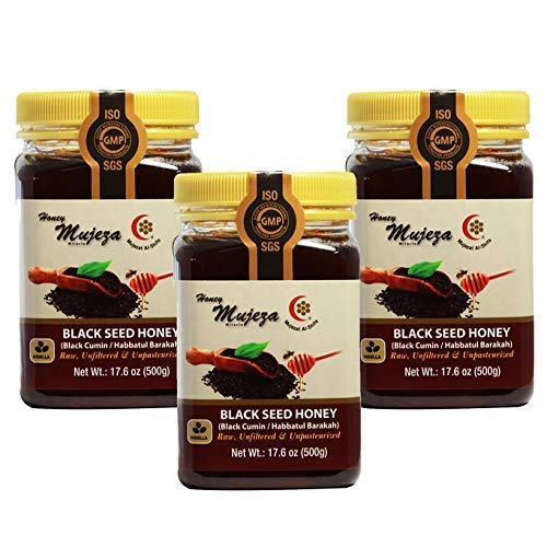 PACK OF 3 Mujeza Black Seed Honey - Not Mixed with Oil or Powder - Gluten Free - Non GMO - Organic Honey - Immune Booster - 100% Natural Raw Honey 500g/17.6oz - Mujeza Al Shifa