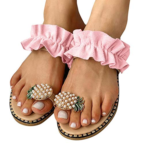 Dasongff Sommersandale Damen Böhmen Slip-On Ananas-Perlen Strandschuhe Outdoor Open Toe Atmungsaktive Sandalen Flach Spitzen Plissee Sommerschuhe Zehentrenner Flip Flop (Rose, 43)