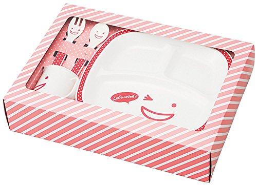竹中 日本製 食器 セット キッズ ノーティー プレート ギフトセット レッド T-56490