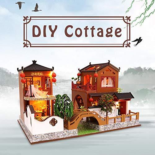 Miniatur Puppenhaus Kit Exquisite DIY Cottage Haus Handwerk Kits Traditionellen Chinesischen Stil Haus Modell Besten Geburtstage Geschenke Jungen Und Mädchen