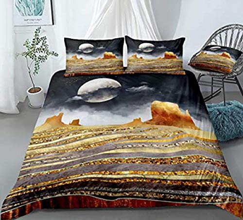 HUA JIE Bed Double Duvet Set,Abstract Landscape Duvet Cover Set Moon Bedding Gold Grey Mountain Stripes And Moon Night Printed Design Nature Sets Queen Duvet Cover Pillowcases
