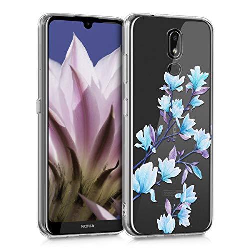 Preisvergleich Produktbild kwmobile Nokia 3.2 (2019) Hülle - Handyhülle für Nokia 3.2 (2019) - Handy Case in Magnolien Design Blau Violett Transparent