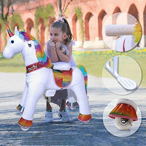 WondeRides Ride on Unicorn Plush Horse Toy Walking Animal Giddy up Pony Mechanical Riding Horse with Wheels for Age 3-8