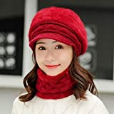 HUANGHUA Winter Knitted Hat for Women Cap and Scarf Set mom
