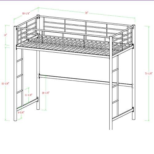 Walker Edison Furniture Modern Metal Pipe Full Double Size Loft Kids Bunk bed Bedroom Storage Guard Rail Ladder, White