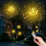 Ooklee Firework Garden Lights Battery Operated, 120 LEDs 8 Modes Waterproof Hanging Chandelier Light, Remote Starburst Wire Fairy String Parasol Umbrella Lighting Outdoor Gazebo Christmas Decorations
