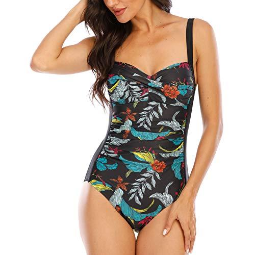 WIN.MAX Traje de baño Acolchado para Reducir Barriga, Traje de baño de Talla Grande para Mujeres Monokinis Vintage Push up (Negro&Verde, EU36)