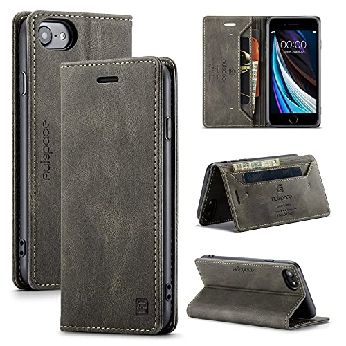 LUFMILY1 Funda de teléfono móvil adecuada para iPhone 6 6s 7 8 SE caso avanzado de piel delgada funda protectora con ranura para tarjeta compatible con iPhone 6 6s 7 8 se caso (marrón)