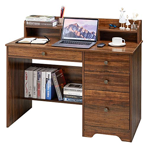 Computer Desk with 4 Drawers and Hutch Shelf, Wood Frame Home Office Desk with Spacious Desktop, Vintage Style Writing Study Table PC Laptop Notebook Desk, Espresso