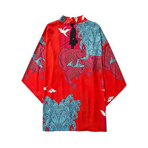 WYUKN Kimono tradicional, kimono japonés traje de hombre abrigo estilo Ukiyoe Tops Japón Haori Cardigan chino tradicional chaqueta suelta camisa Yukata abrigos, rojo-XLarge