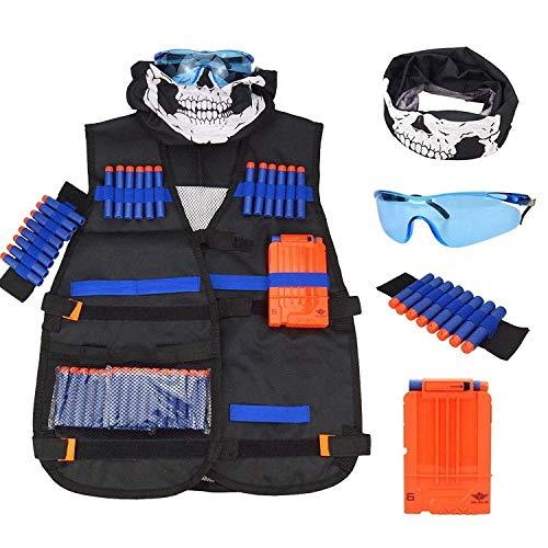 Bontand Kinder Weste Kit Kompatibel Mit Nerf Guns N-Strike Elite-Serie Mit 8-Dart-Handgelenk-Band 20 Pc-Soft Schaumstoff Darts Reload Clips Seamless Face Mask & Goggle