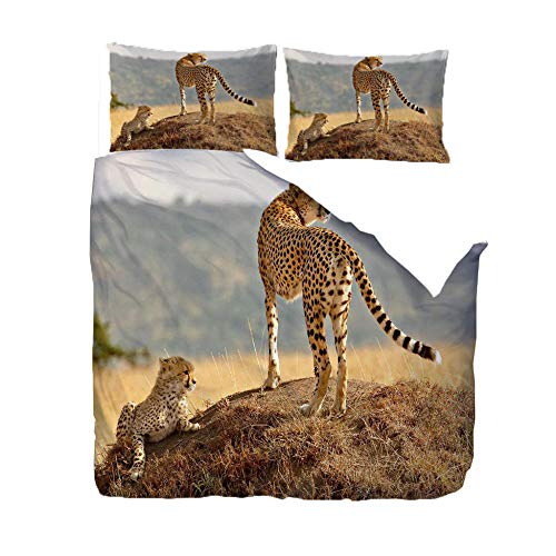 PANDAWDD 3D Printed 220x230cm Grassland animal cheetah Bedding Set for Children Teens Duvet Cover Set with 2 Pillowcases Microfiber Quilt Cover with Zipper Closure